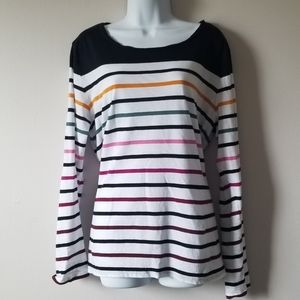 LOFT Multicolored Striped Long Sleeved T